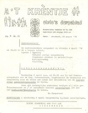 Oirlo's dorpsblad 't Krèntje 1978-03-30