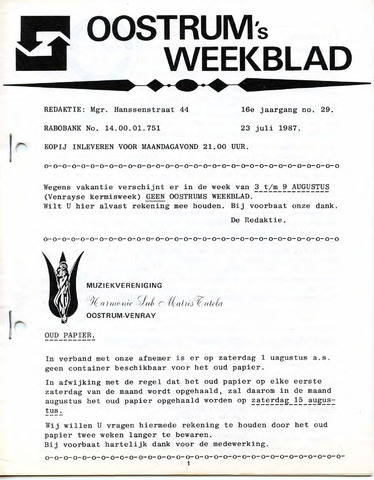 Oostrum's Weekblad 1987-07-23