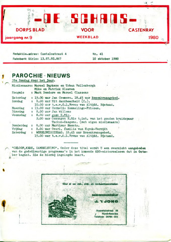 Castenrays dorpsblad De Schans 1980-10-10