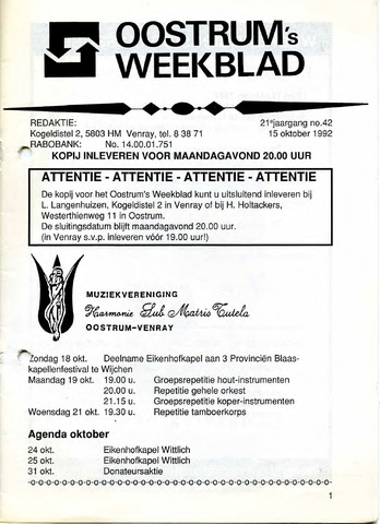 Oostrum's Weekblad 1992-10-15
