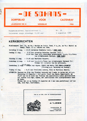 Castenrays dorpsblad De Schans 1985-08-09
