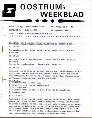 Oostrum's Weekblad 1981-11-26