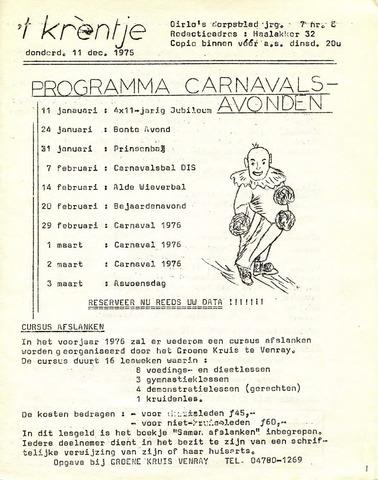Oirlo's dorpsblad 't Krèntje 1975-12-11