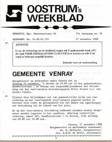 Oostrum's Weekblad 1988-11-17