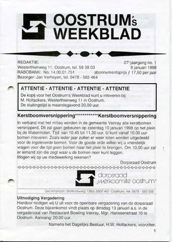 Oostrum's Weekblad 1998-01-08
