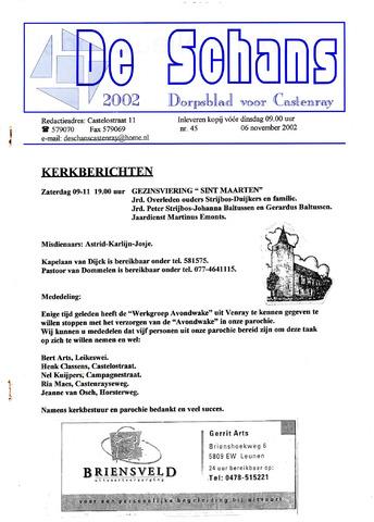 Castenrays dorpsblad De Schans 2002-11-06