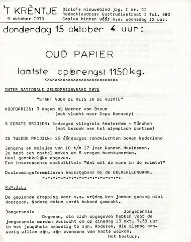 Oirlo's dorpsblad 't Krèntje 1970-10-09