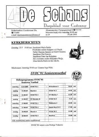 Castenrays dorpsblad De Schans 2005-07-20