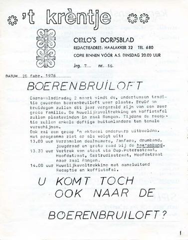 Oirlo's dorpsblad 't Krèntje 1976-02-26
