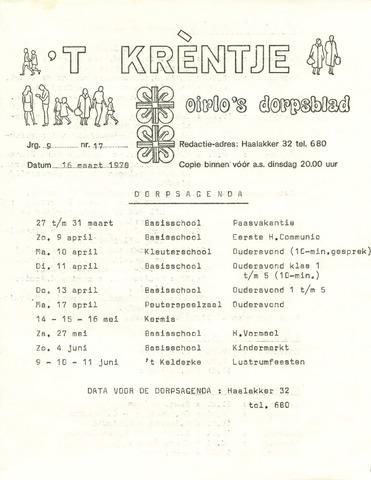 Oirlo's dorpsblad 't Krèntje 1978-03-16