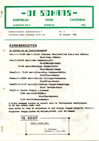 Castenrays dorpsblad De Schans 1986-02-28