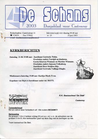 Castenrays dorpsblad De Schans 2003-06-18