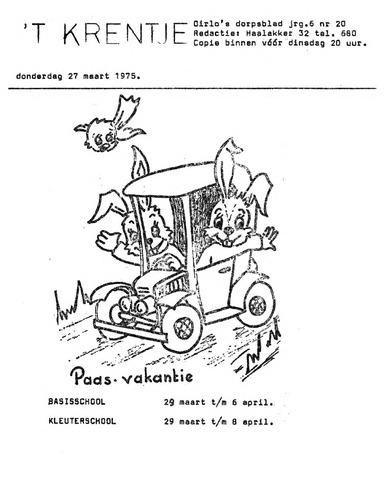 Oirlo's dorpsblad 't Krèntje 1975-03-27