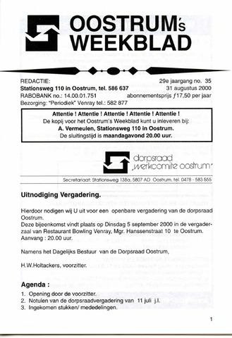 Oostrum's Weekblad 2000-08-31