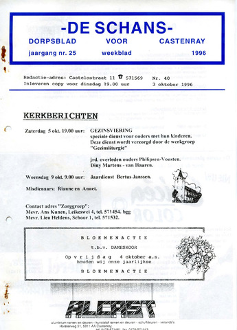 Castenrays dorpsblad De Schans 1996-10-03