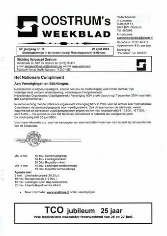 Oostrum's Weekblad 2004-04-29