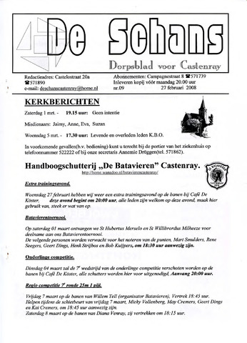 Castenrays dorpsblad De Schans 2008-02-27