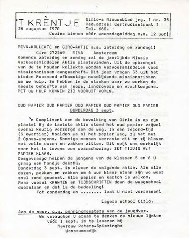 Oirlo's dorpsblad 't Krèntje 1970-08-28