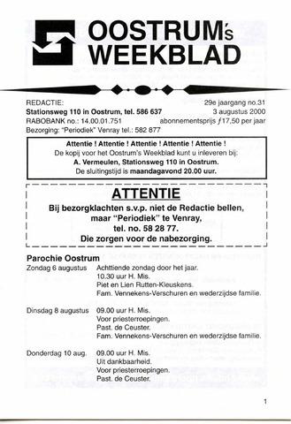 Oostrum's Weekblad 2000-08-03