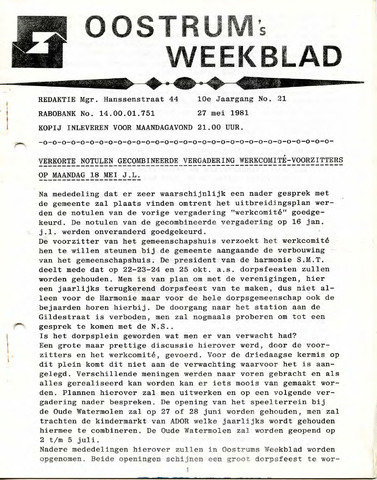 Oostrum's Weekblad 1981-05-27