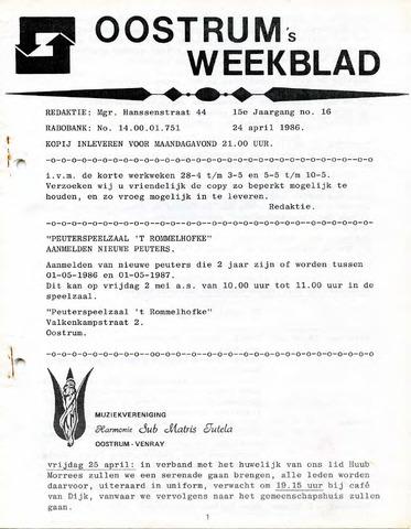 Oostrum's Weekblad 1986-04-24