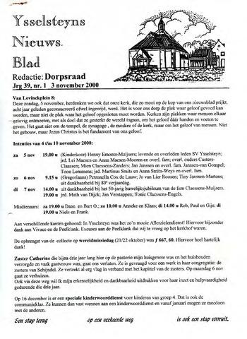 Ysselsteyns Nieuwsblad 2000-11-03