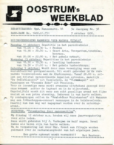 Oostrum's Weekblad 1976-10-07