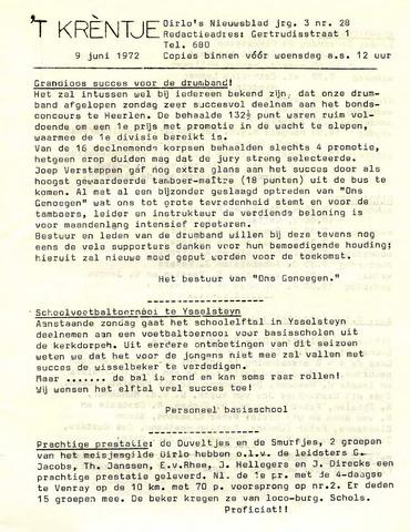 Oirlo's dorpsblad 't Krèntje 1972-06-09