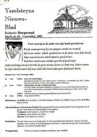 Ysselsteyns Nieuwsblad 2003-11-01