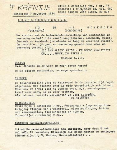 Oirlo's dorpsblad 't Krèntje 1974-11-07