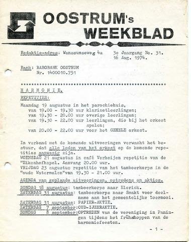 Oostrum's Weekblad 1974-08-16