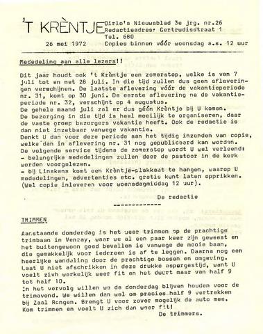 Oirlo's dorpsblad 't Krèntje 1972-05-26