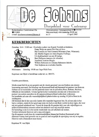 Castenrays dorpsblad De Schans 2005-04-13