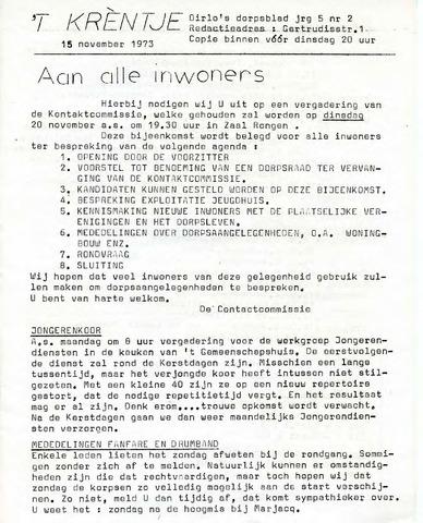 Oirlo's dorpsblad 't Krèntje 1973-11-15