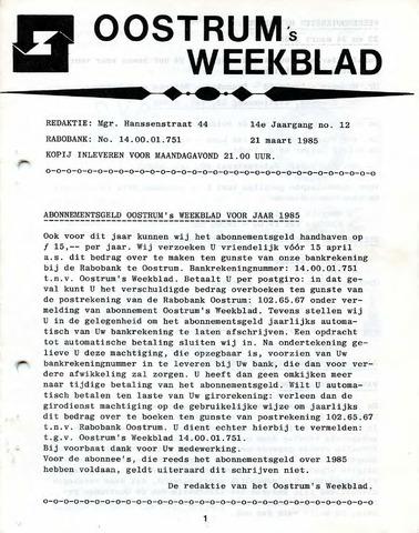 Oostrum's Weekblad 1985-03-21