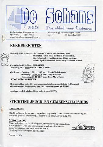Castenrays dorpsblad De Schans 2003-12-17