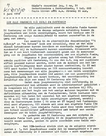 Oirlo's dorpsblad 't Krèntje 1974-06-06