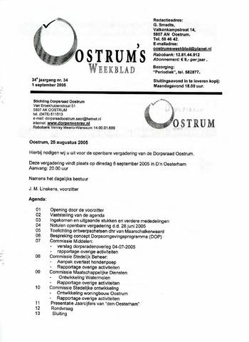 Oostrum's Weekblad 2005-09-01