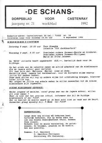Castenrays dorpsblad De Schans 1992-09-04