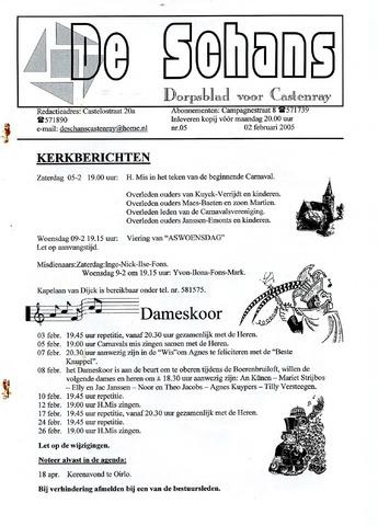 Castenrays dorpsblad De Schans 2005-02-02
