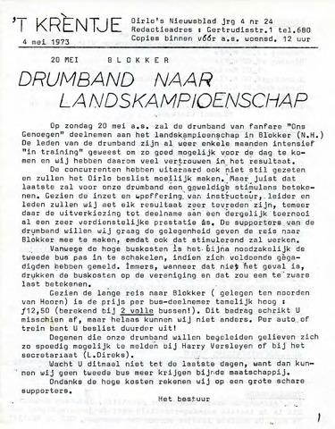 Oirlo's dorpsblad 't Krèntje 1973-05-04