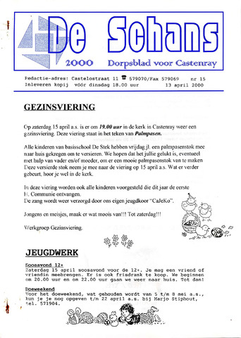 Castenrays dorpsblad De Schans 2000-04-13