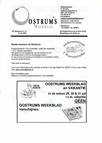 Oostrum's Weekblad 2009-07-02