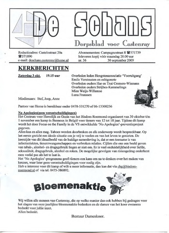 Castenrays dorpsblad De Schans 2009-09-30
