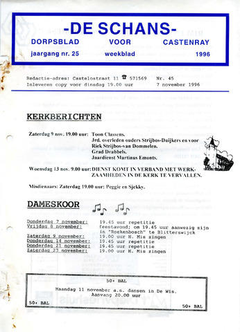 Castenrays dorpsblad De Schans 1996-11-07