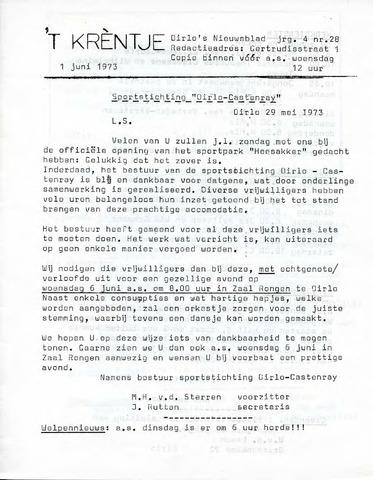 Oirlo's dorpsblad 't Krèntje 1973-06-01