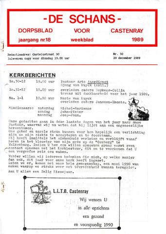 Castenrays dorpsblad De Schans 1989-12-29