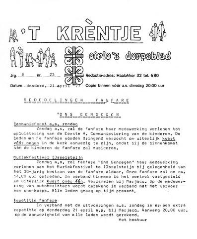 Oirlo's dorpsblad 't Krèntje 1977-04-21