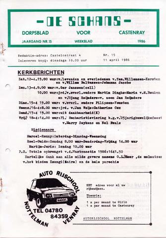 Castenrays dorpsblad De Schans 1986-04-11