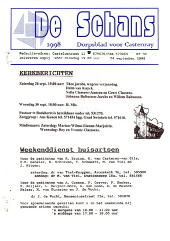 Castenrays dorpsblad De Schans 1998-09-24